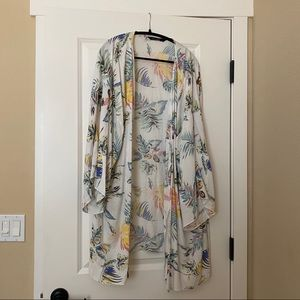 Tropical print swimsuit cover up